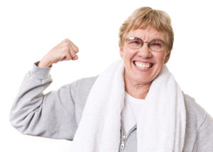 flexing senior woman