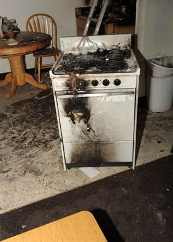 burnt oven in kitchen