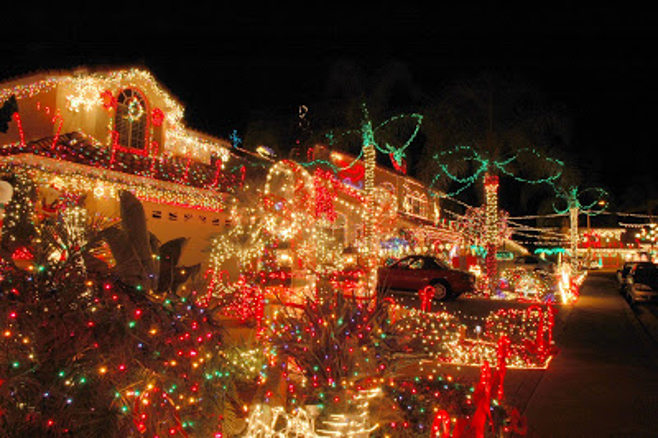 house decked in christmas lights