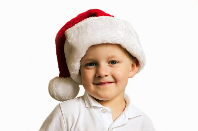 grandchild with christmas hat