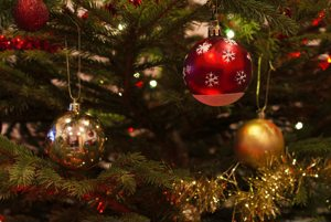 Christmas ornaments in tree