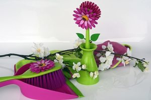 cleaning supplies with floral decoration