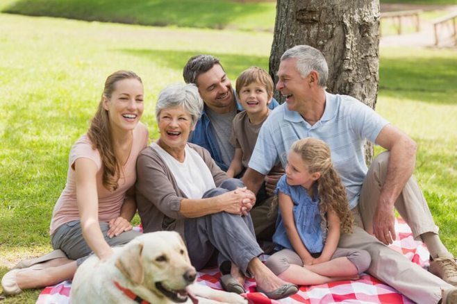 whole family on picnic blanket