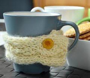 blue coffee cup with crochet cozy