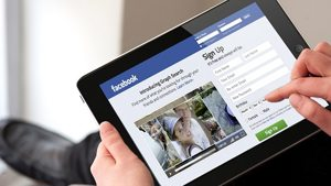 Facebook on tablet.