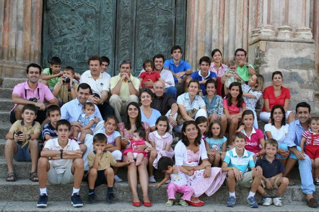 family of 40 on church steps