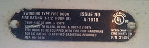 Fire door label with UL certification
