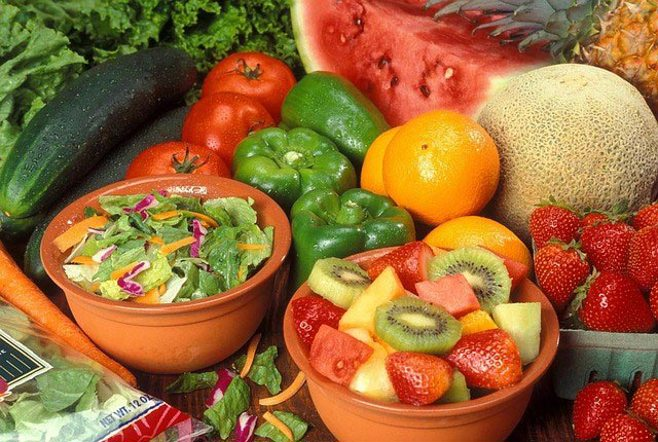 fruit and veggie salads