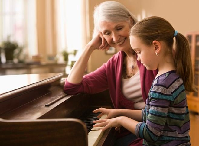 Grandmother and granddaughter playing piano