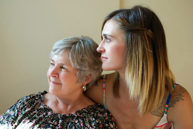 granddaughter and grandma looking away