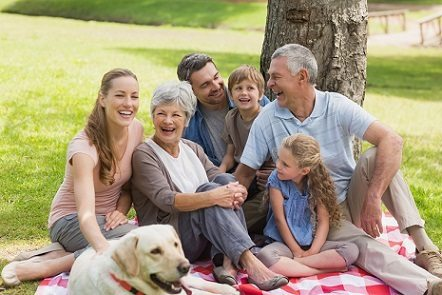happy family with peace of mind that grandparents have a mobile medical alert with fall detection