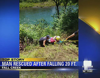 Fall Creek - Man Rescued After Falling 20 ft.