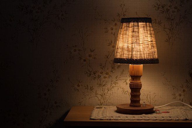 nightstand and lamp