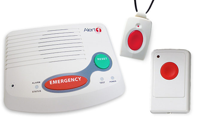 Medical Alert base unit, pendant, and wall-mount button
