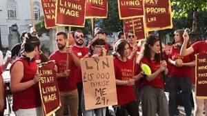 protesters for living wage