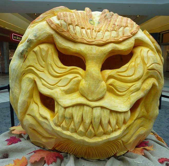 intricate pumpkin carving