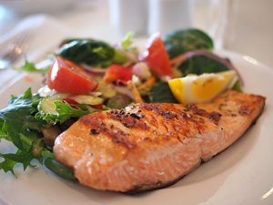 salmon over greens