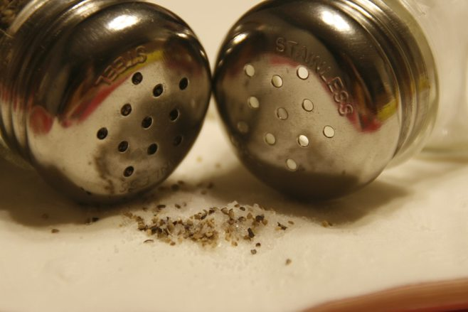 Closeup of tops of Salt and Pepper shakers