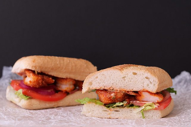 Pan-fried shrimp po' boys