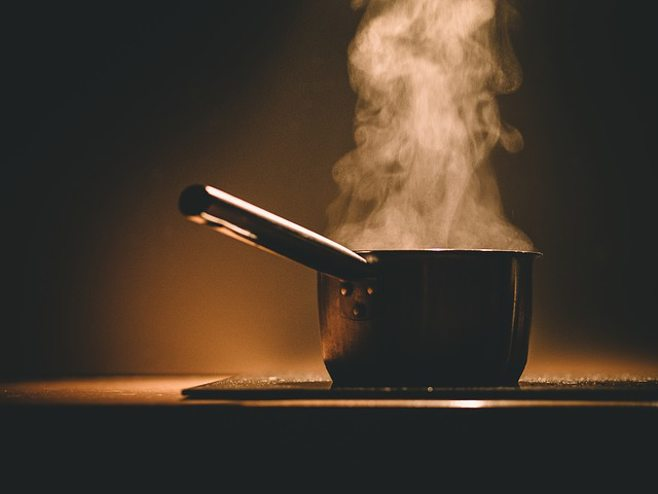 steaming pot on stove