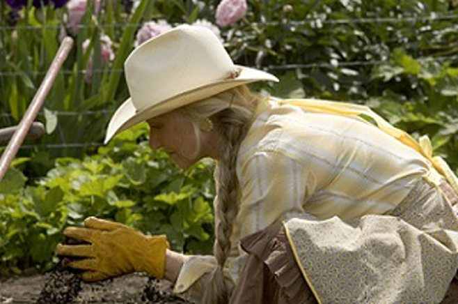 Senior Lady Gardening with Hat