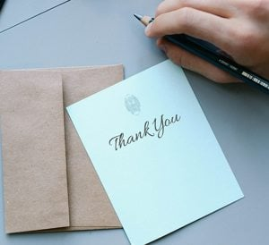 formal stationary thank you card