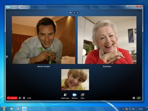 Family video chatting on Skype.
